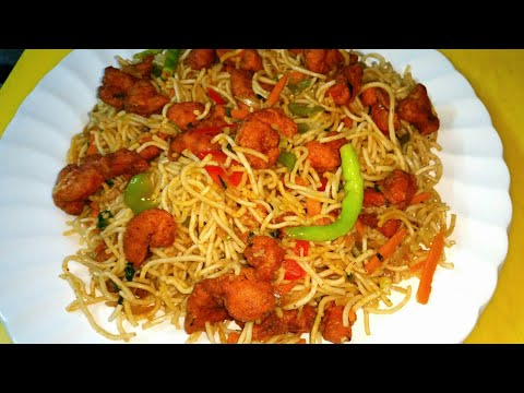 fried chicken noodles  (indian style)
