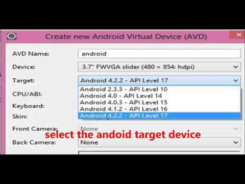 how to set up android virtual device(avd) in eclipse