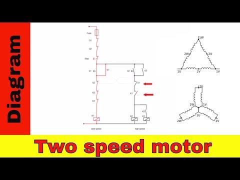 Wiring diagram for  two speed motor. 3ph 2 speed motor.