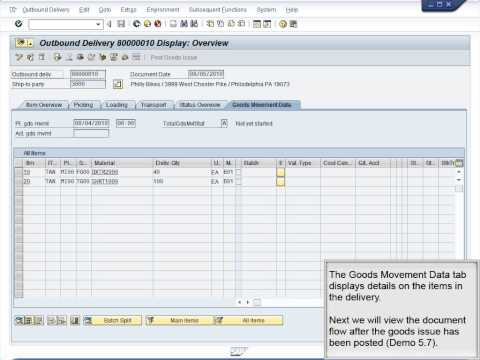 Demo 5.10 Display Document Flow