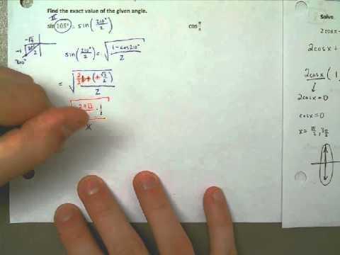 Lesson 5.5 Part 1 Example 5 - Using a Half-Angle Formula