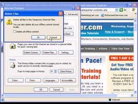 Delete Temporary Internet Files Inside Internet Explorer