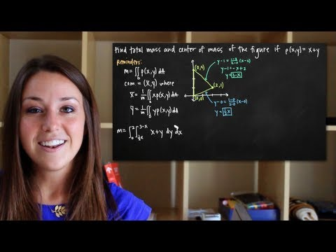 Double integrals to find mass and center of mass of the lamina (KristaKingMath)