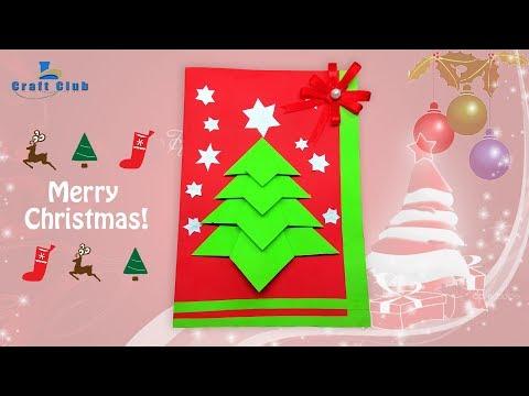 How to Make a Christmas Card   Hand Made Christmas Greetings Card Making Ideas   Lina's Craft Club