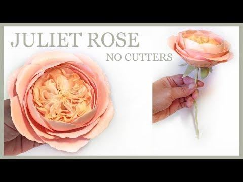 Juliet Rose Tutorial: NO CUTTERS Sugar Rose David Austin Style - Gumpaste