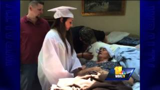 Teen graduates at dying mom's bedside