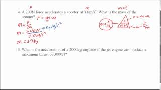 Using The Force Equation F=ma
