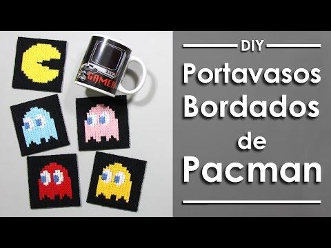 Portavasos bordados de Pacman - DIY