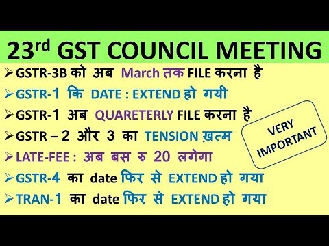 GST : 23rd Council Meeting, QUARTERLY GSTR 1, LATE FEE AMOUNT DECREASED, GSTR 4 DATE EXTENDED
