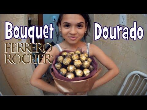 Como fazer Bouquet dourado de Ferrero Rocher