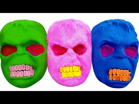 DIY How to Make Kinetic Sand & Play doh Mask Hulk Learn Colors Foam Ice Cream Nursery Rhymes