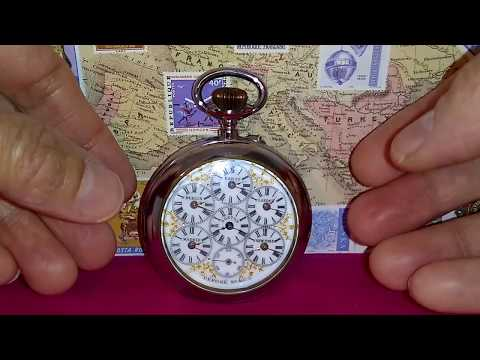 World Time Zone Antique Pocket Watch 6 Cities