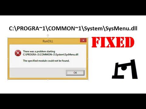 How To Fix : C:\PROGRA~1\COMMON~1\System\SysMenu.dll Error   SysMenu.dll