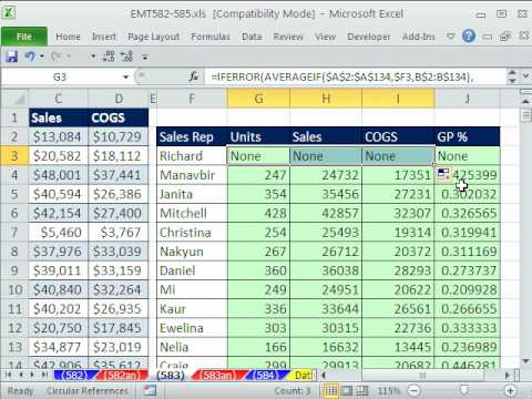 Excel Magic Trick 583: AVERAGEIF & IFERROR functions Mixed Cell References Gross Profit Percentage