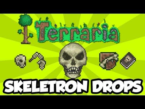 Terraria 1.2 - All Skeletron Drops [Skeletron Hands, Skeletron Mask, Trophy, Book of Skulls]