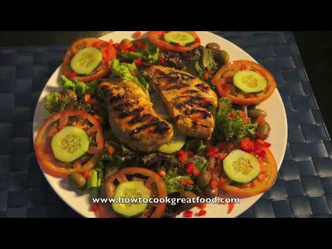 Lemon & Garlic Chicken Breast recipe Grilled BBQ Pan fried Olive Oil super easy salad