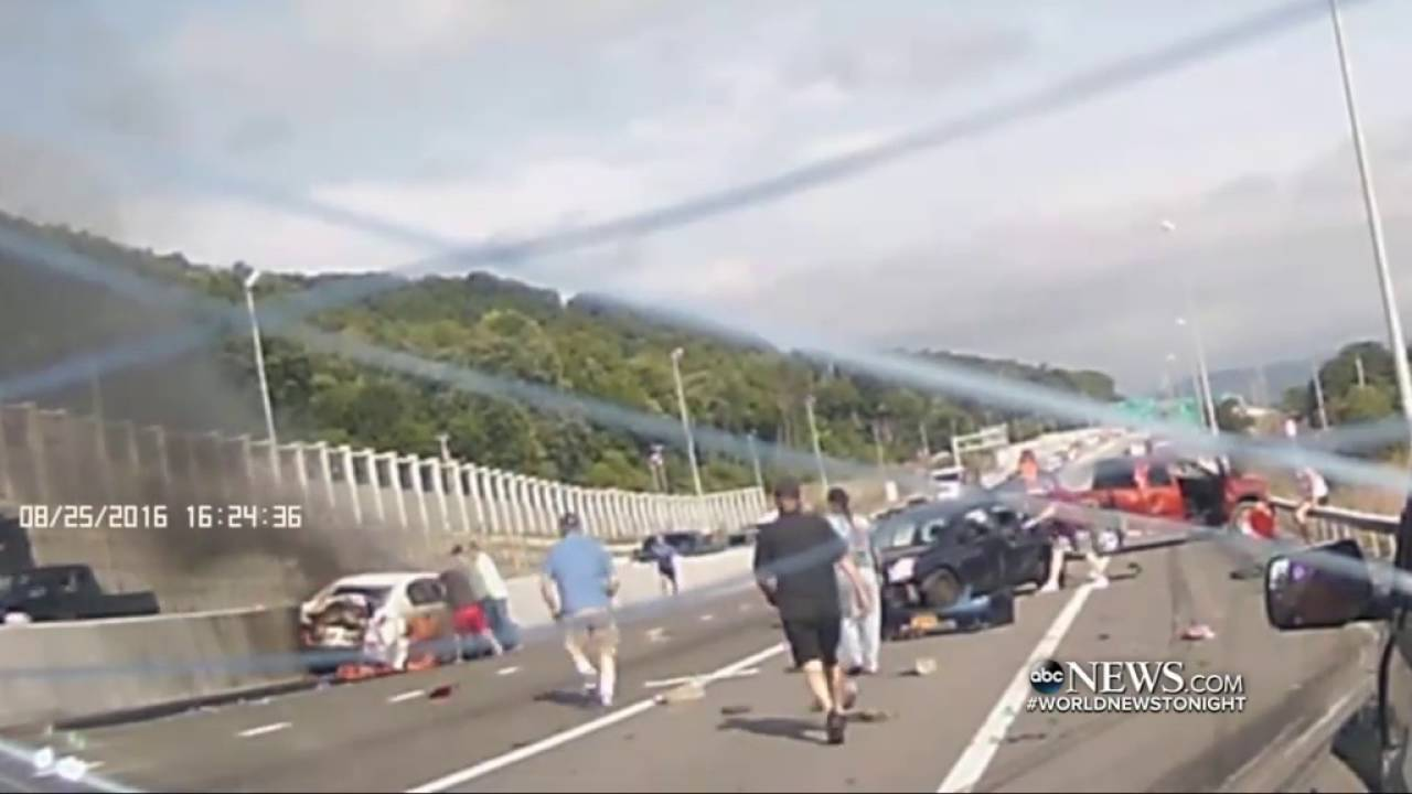 Massive Car Pileup, Dramatic Rescue Caught on Dashcam