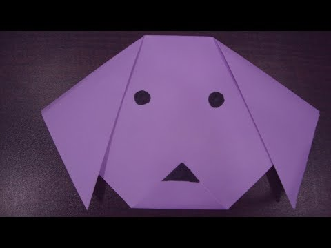 Origami for kids : origami dog face.