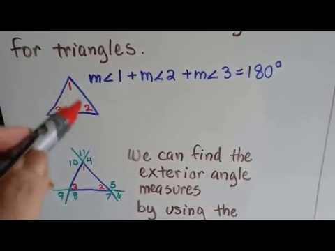 Grade 8 Math #11.2a, Sum of Angle measures of Triangle, Find exterior measure
