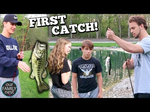 AFRAID TO TOUCH THE FISH! FIRST OFFICIAL CATCH FROM OUR POND!