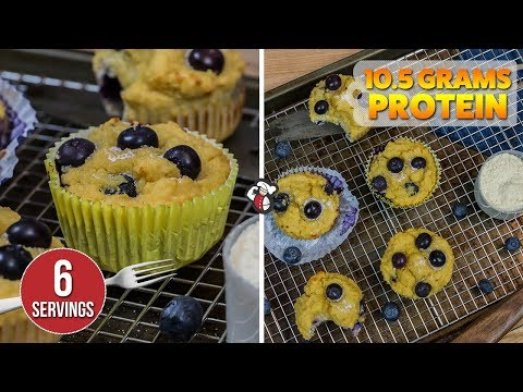 Easy 130 Calorie Blueberry PROTEIN Muffins