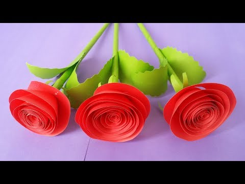 How to Make  Rose Flower With Colour Paper !!!!