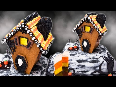 Gingerbread Haunted House Cake with Candy Corn Cake Layers for Halloween