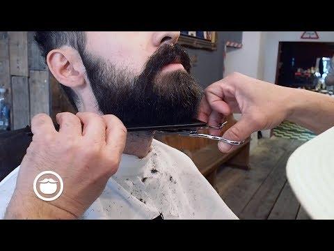 Rounded Beard Trim for Medium Beard at Barbershop