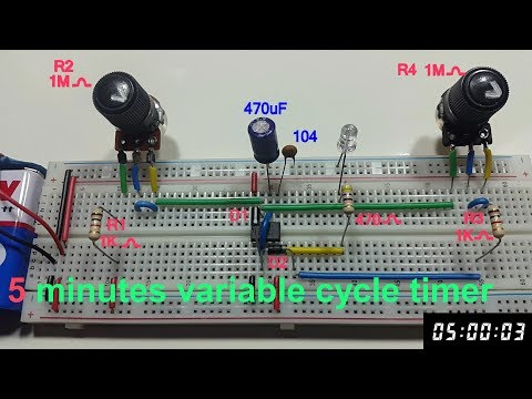 5 minutes cycle variable timer using 555 timer in Tamil & English, 5 minutes astable multivibrator