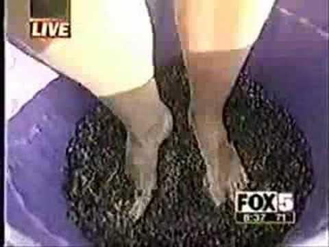 Grape lady falls!