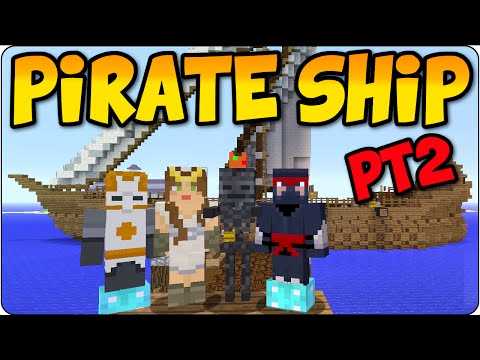 Minecraft PS3, PS4 Pirate Ship Let's Build Live Part 2 - Tutorial Showcase- Multiplayer Gameplay