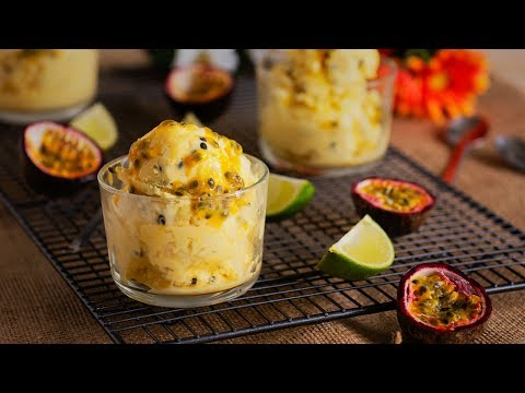 COCONUT ICE CREAM WITH PASSION FRUIT AND LIME - Dairy Free!!