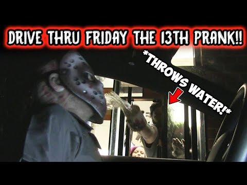 DRIVE THRU FRIDAY THE 13TH PRANK!! (COPS CALLED!)