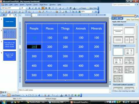Jeopardy PowerPoint--Creating Hyperlinks