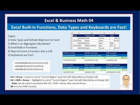 Excel & Business Math 04: Excel Built-in Functions, Data Types and Keyboards are Fast!