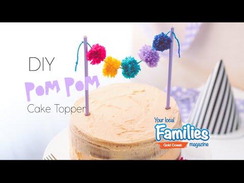 Cute and Colourful Pom Pom Cake Topper DIY