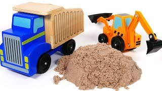 Dump Truck Trailer and Backhoe Toy Vehicles Playset for Children Playing in Kinetic Sand