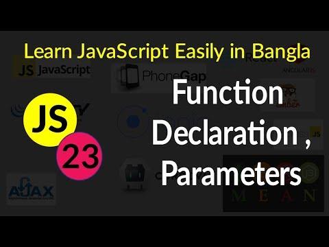 Function Declaration , Function Parameters - # 23 - Learn JavaScript Easily