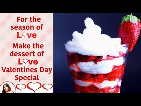 Strawberry with Whipped Cream- Valentine's day special - Strawberry with Cream - Quick Desserts