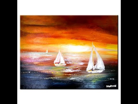 SEASCAPE painting, acrylic paint, brushes, spatula, canvas tutorial for beginners