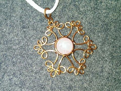 Copper wire snowflake pendant - handmade beaded jewelry 109