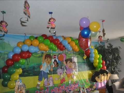 My daughter 3rd bithday party + Dora & Diego theme birthday party decoration ideas.