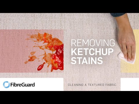 Removing ketchup stains from textured fabric
