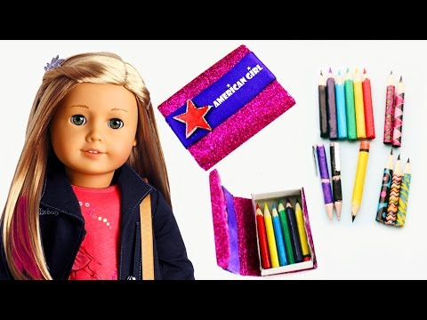 How to make AMERICAN GIRL PENCILS, PENS and PENCIL CASE - Easy Doll Crafts - simplekidscrafts