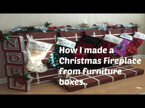 How I made a Christmas Fireplace from old furniture boxes