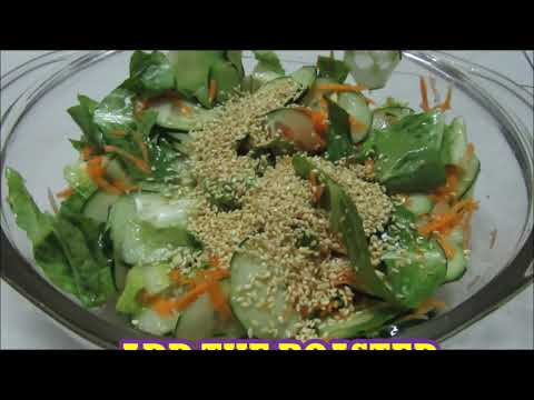 Lettuce-cucumber-carrot vegetable salad with sesame seeds: PINAYs' EASY RECIPE