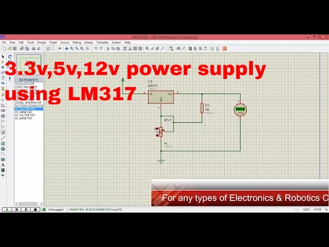variable power supply using LM317 in proteus