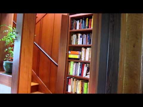 Hidden Staircase behind Redwood Bookcase
