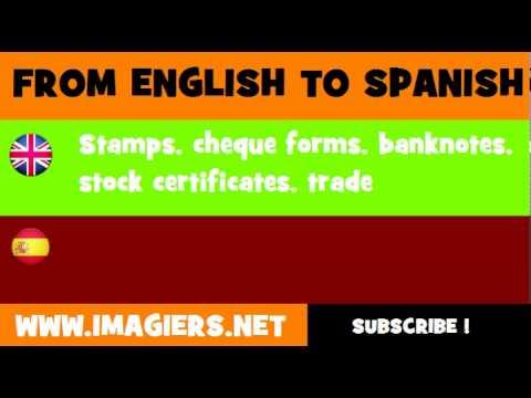 ESPAÑOL = INGLÉS = Sellos, talonarios de cheques, billetes de banco, certificados de acciones, material de publicidad comercial, catálogos y manuales
