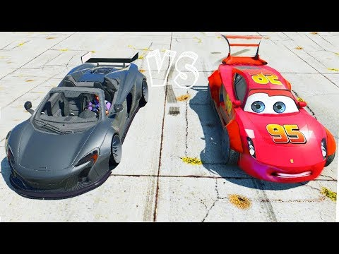Grand Theft Auto V - Widebody Lightning Mcqueen (GTA 5 Disney CARS 3 MODs Awesome Drag Race)